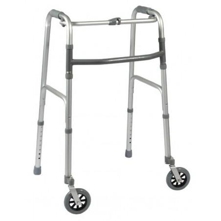 Deambulatore fisso pieghevole due ruote due puntali art.ParaDE17